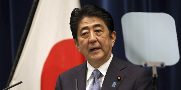 "Japanese Prime Minister Shinzo Abe delivers a statement to mark the 70th anniversary of the end of World War II during a press conference at his official residence in Tokyo Friday, Aug. 14, 2015. Abe has expressed ""profound grief"" for all who perished in World War II in a statement marking the 70th anniversary of the country's surrender. (AP Photo/Eugene Hoshiko)"