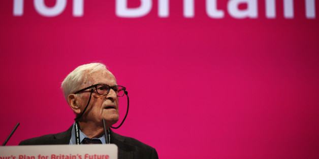 MANCHESTER, ENGLAND - SEPTEMBER 24:  91 year old Harry Leslie Smith delivers an impassioned speech about his life and the NHS on September 24, 2014 in Manchester, England. Ed Miliband, the Leader of the Labour Party, delivered his keynote speech to delegates yesterday, and has since admitted missing out a key passage on the UK's financial deficit. The four-day annual Labour Party Conference finishes today in Manchester.  (Photo by Dan Kitwood/Getty Images)