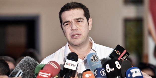 Regierungschef Alexis Tsipras nach der Stimmabgabe