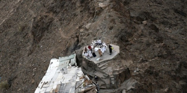 """Des fidèles musulmans prient lors d'un pélerinage à """"la Montagne de la lumière"""", le 19 septembre 2015 dans la périphérie de La Mecque, en Arabie Saoudite"""