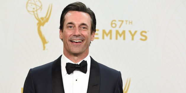 Actor Jon Hamm arrives in the press room with his Emmy for Outstanding Lead Actor in a Drama Series for his role in 'Mad Men' during the 67th Emmy Awards, September 20, 2015 at the Microsoft Theatre in downtown Los Angeles. AFP PHOTO/ VALERIE MACON        (Photo credit should read VALERIE MACON/AFP/Getty Images)