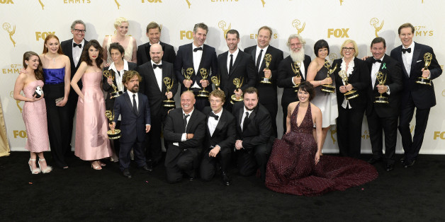 LOS ANGELES, CA - SEPTEMBER 20:  Cast and crew  members of 'Game of Thrones' winners of Outstanding Drama Series pose in the press room at the 67th Annual Primetime Emmy Awards at Microsoft Theater on September 20, 2015 in Los Angeles, California.(Photo by Kevork Djansezian/Getty Images)