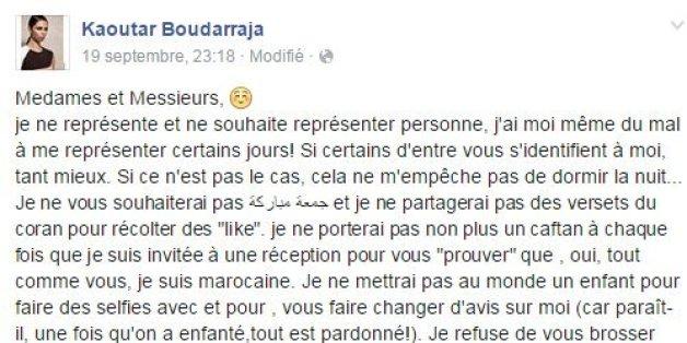 Critiquée, Kaoutar Boudarraja affirme sur Facebook son droit de poser en photos comme elle le souhaite