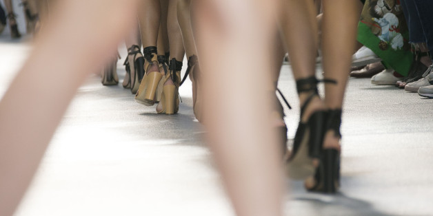 Models at London Fashion Week at at Brewer Street Car Park, in Soho, central London,  (Photo by Joel Ryan/Invision/AP)