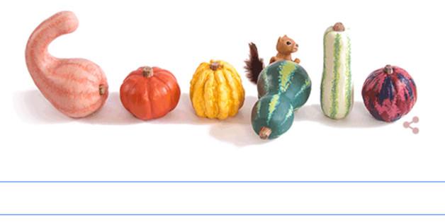 Das Google-Logo mit vielen bunten Kürbissen