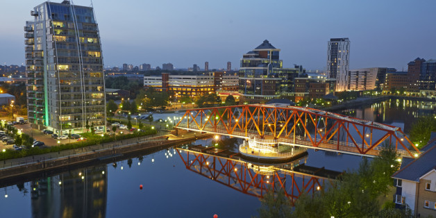 Elevated view of red bridge at the Manchester ship canal in the regenerated Salford Quays, Manchester