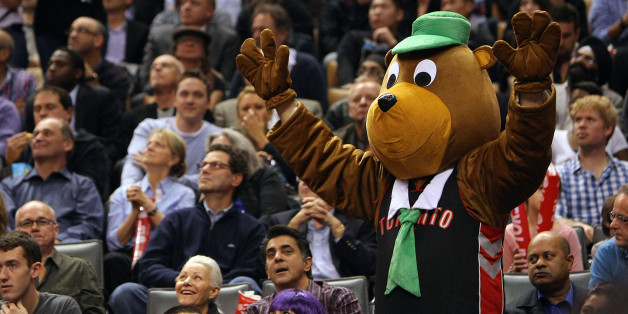 TORONTO, CANADA - OCTOBER 31:  A fan dressed up as Yogi the Bear for Halloween cheers as the Indiana Pacers take the Toronto Raptors on October 31, 2012 at the Air Canada Centre in Toronto, Canada. NOTE TO USER:  User expressly acknowledges and agrees that, by downloading and or using this photograph, User is consenting to the terms and conditions of the Getty Images License Agreement. (Photo by David Sandford/GettyImages)