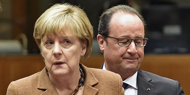 Angela Merkel  et François Hollande, à Bruxelles le 23 septembre, n'ont pas le même discours sur Bachar al-Assad