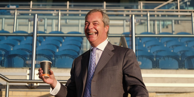 DONCASTER, ENGLAND - SEPTEMBER 25:  UK Independence Party leader Nigel Farage takes part in a photo call at Doncaster Racecourse at the start of the UK Independence Party annual conference on September 25, 2015 in Doncaster, England. After increasing their vote share following the May General Election campaign the UKIP conference this year focussed primarily on the campaign to leave the European Union ahead of the upcoming referendum on EU membership.  (Photo by Ian Forsyth/Getty Images)
