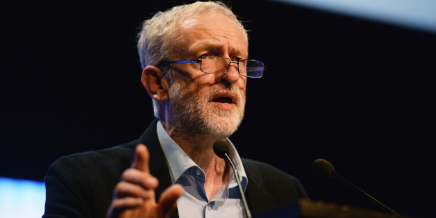 BRIGHTON, ENGLAND - SEPTEMBER 15:  Labour party leader Jeremy Corbyn addresses the TUC Conference at The Brighton Centre on September 15, 2015 in Brighton, England. It was Mr Corbyn's first major speech since becoming leader of the party at the weekend and he received a standing ovation from the members of the TUC. (Photo by Mary Turner/Getty Images)