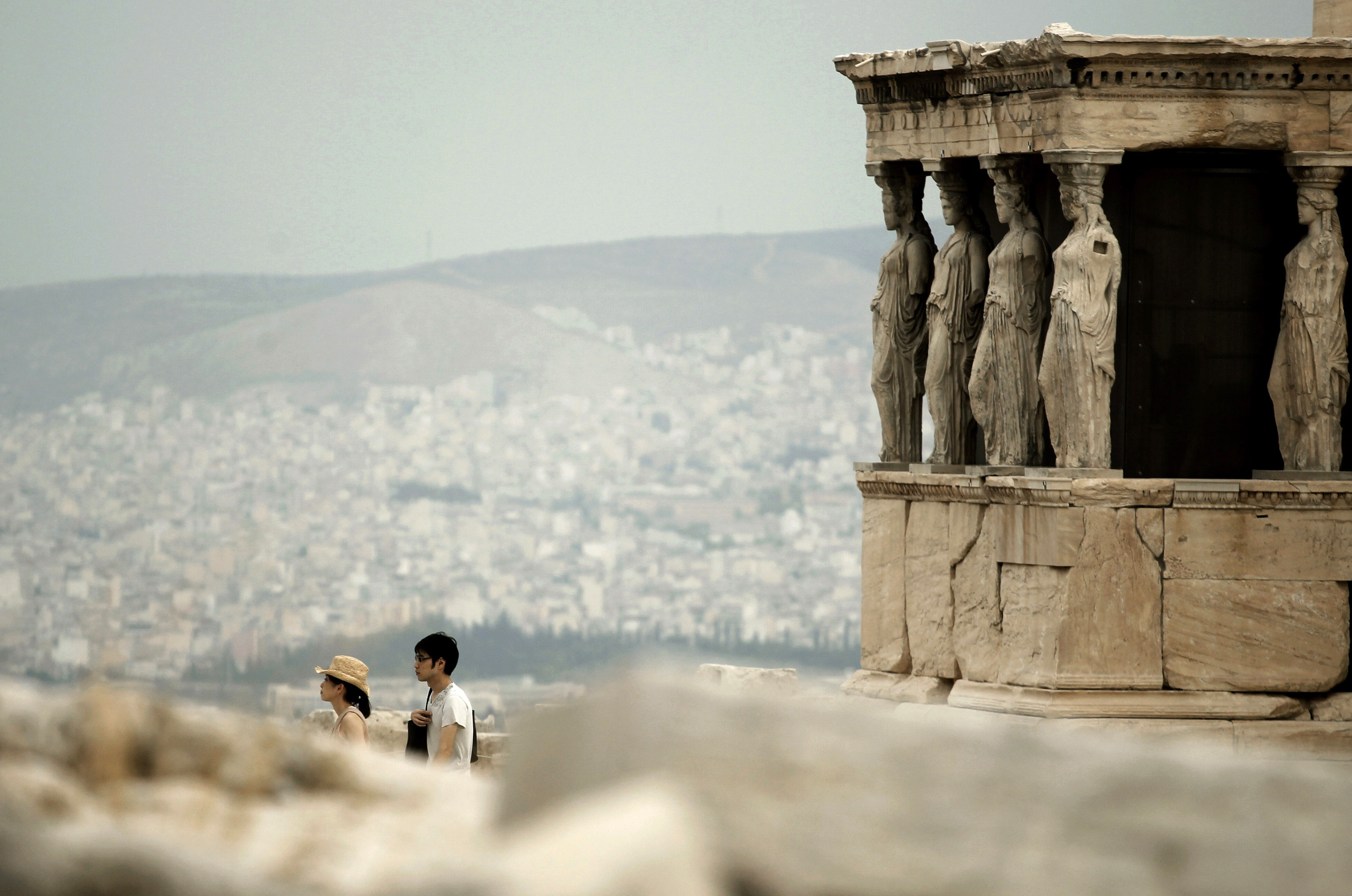 tourists acropolis greece
