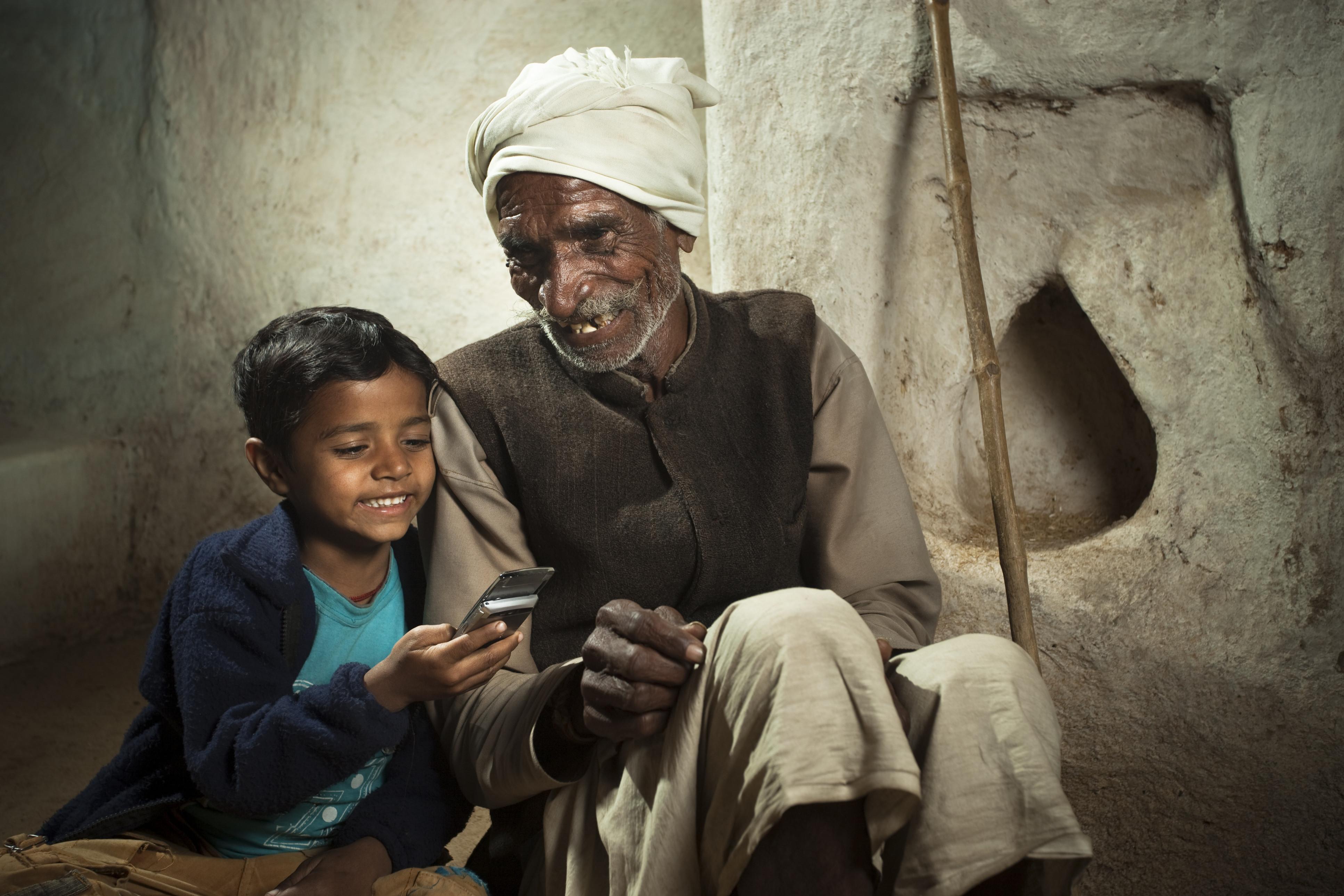 indian children phone grandparents