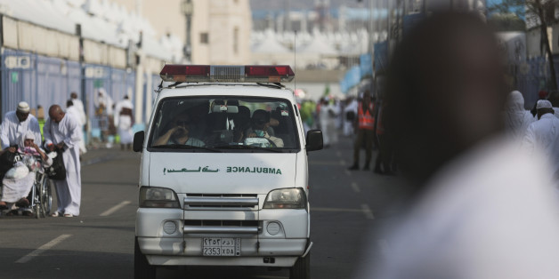An ambulance rushes to the site where pilgrims were crushed and trampled to death during the annual hajj pilgrimage in Mina, Saudi Arabia, Thursday, Sept. 24, 2015. The crush killed hundreds of pilgrims and injured hundreds more in Mina, a large valley on the outskirts of the holy city of Mecca, the deadliest tragedy to strike the pilgrimage in more than two decades. (AP Photo/Mosa'ab Elshamy)