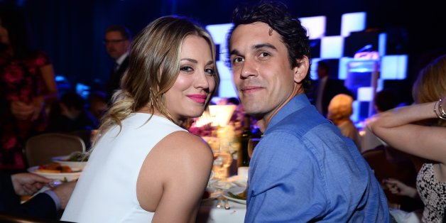 "Kaley Cuoco, left, and Ryan Sweeting pose in the audience at the 22nd annual ""A Night At Sardi's"" to benefit the Alzheimer's Association at the Beverly Hilton Hotel on Wednesday, March 26, 2014, in Beverly Hills, Calif. (Photo by Jordan Strauss/Invision for Alzheimer's Association/AP Images)"