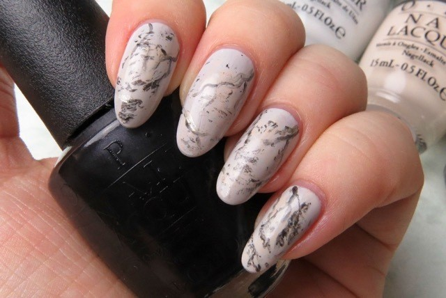Manimonday simple marble stone nail art the great thing about a marble nail art design is that it doesnt have to be perfect in fact the imperfections make it look more realistic prinsesfo Choice Image
