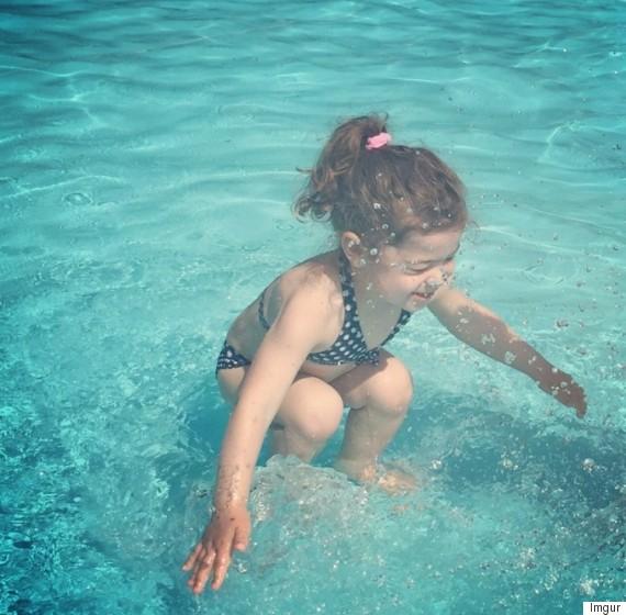 girl under over water