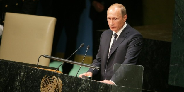 NEW YORK, USA - SEPTEMBER 28 : Russian President Vladimir Putin speaks during the opening of the 70th session of the United Nations General Assembly at the U.N. headquarters in New York on September 28, 2015. (Photo by Russian Presidential Press and Information Office/Anadolu Agency/Getty Images)
