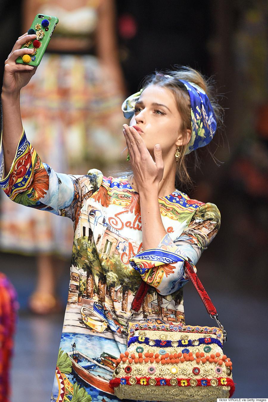 Dolce   Gabbana Bring Selfies To The Runway At Milan Fashion Week ... 3593efe78e5