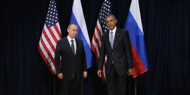 NEW YORK, NY - SEPTEMBER 28:  (AFP OUT) Russian President Vladimir Putin and U.S. President Barack Obama pose for photographs before the start of a bilateral meeting at the United Nations headquarters September 28, 2015 in New York City. Putin and Obama are in New York City to attend the 70th anniversary general assembly meetings.  (Photo by Chip Somodevilla/Getty Images)