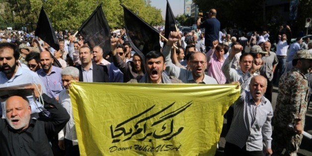 Des hommes manifestent à Téhéran contre l'Arabie Saoudite après la mort de 150 iranien à la Mecque, le 25 septembre 2015