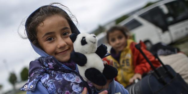 Ein syrisches Flüchtlingskind in München Anfang September 2015