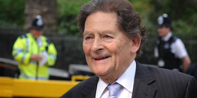 Former Chancellor of the Exchequer Nigel Lawson arrives at television studios in Westminster today where he was interviewed about his comments on Europe at the weekend.