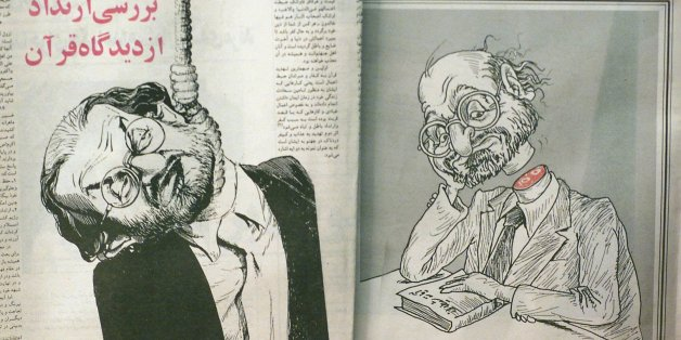 "The hardline Iranian newspaper Islamic Revolution shows cartoons depicting British author Salman Rushdie on the eleventh anniversary of Iran's death sentence against him Monday Feb. 14, 2000 in Tehran.  A hard-line Iranian foundation said it would add ""accumulated interrest"" to the 2.8 million dollars bounty that they were already offering on the author's head. Ayatollah Ruhollah Khomeini, issued a ""fatwa"" or Islamic edict on Feb. 14, 1989 ordering Muslims to seek out and kill Rushdie for insulting Islam in his novel ""The Satanic Verses"".(AP Photo/Enric Marti) <%% 0 PICTURE_OK HEADER_OK 2 1 %%>"