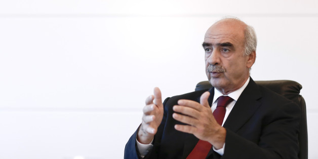 Evangelos-Vassilios Meimarakis, leader of the New Democracy Party of Greece, gestures whilst speaking during a Bloomberg Television interview at the party headquarters in Athens, Greece, on Sunday, Sept. 6, 2015. Meimarakis is to campaign in Crete following a visit by Syriza party chief Alexis Tsipras. Photographer: Kostas Tsironis/Bloomberg via Getty Images
