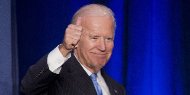 In this Sept. 22, 2015, photo, Vice President Joe Biden gives a 'thumbs-up' after speaking at the White House Initiative on Historically Black Colleges and Universities' (HBCU) National HBCU Week annual conference in Washington. The Human Rights Campaign says Biden will be the keynote speaker for its annual dinner. The national gay rights group is hosting the dinner Oct. 3 in Washington. The speech is a major opportunity for Biden to demonstrate his support among LGBT voters. Biden is considerin
