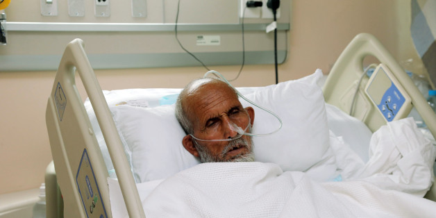A victim who was injured in Thursday's stampede during the hajj pilgrimage in Mina, receives treatment at a hospital in Mecca, Saudi Arabia, Wednesday, Sept. 30, 2015. Riyadh has said that more than 760 pilgrims died in the stampede near Mecca, the worst disaster to strike the annual pilgrimage in a quarter-century. (AP Photo)