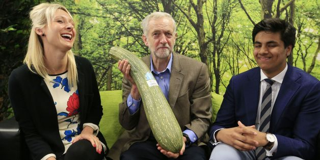 Labour party leader Jeremy Corbyn (centre) is presented with a marrow by local independent store 'HiSbe' as he talks with Claire Medhurst of Reborn Digital Marketing and Aadam Patel of Halal Celebrations, during a visit to the Brighton Hatchery, prior to the start of the annual Labour party conference at the Brighton Centre.