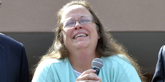 Rowan County Clerk Kim Davis pauses as she speaks after being released from the Carter County Detention Center, Tuesday, Sept. 8, 2015, in Grayson, Ky. Davis, the Kentucky county clerk who was jailed for refusing to issue marriage licenses to gay couples, was released Tuesday after five days behind bars.   (AP Photo/Timothy D. Easley)