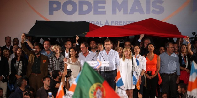 LISBON, PORTUGAL - OCTOBER 02: Portuguese Prime Minister Pedro Passos Coelho speaks during his government coalition election campaign closing rally in Lisbon on October 02, 2015. Portugal goes to the polls to elect a new government on October 4, 2015. (Photo by Joao Henriques/Anadolu Agency/Getty Images)