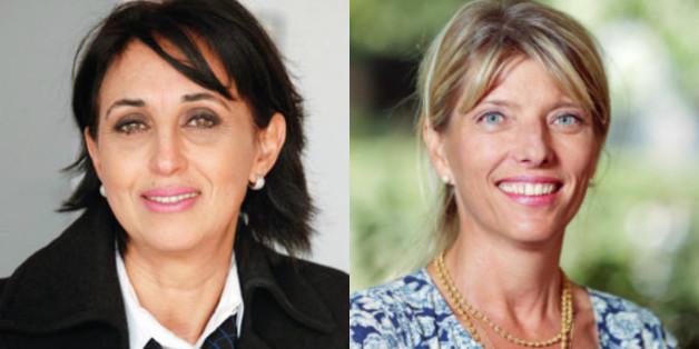 De gauche à droite, Nabila Mounib, SG du Parti socialiste unifié (PSU) et Erika Ferrer, ambassadrice de Suède Erika Ferrer