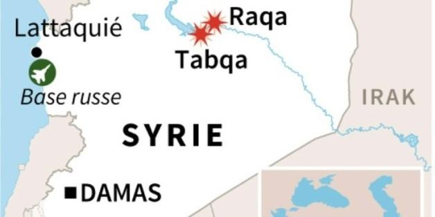 Syrie: carte de localisation des dernières frappes russes jeudi à Raqa et Taqba, en Syrie