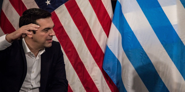 CITY HALL, NEW YORK, UNITED STATES - 2015/10/01: Alexis Tsipras talks with the press.Greek Prime Minister Alexis Tsipras, currently in New York City for the United Nations General Assembly, was welcomed at City Hall's Blue Room by Mayor Bill de Blasio. (Photo by Albin Lohr-Jones/Pacific Press/LightRocket via Getty Images)