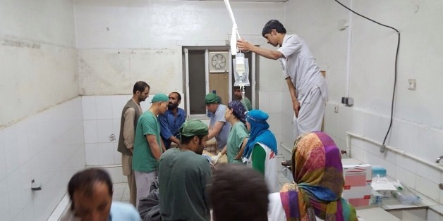 KUNDUZ, AFGHANISTAN -OCTOBER 03: Doctors Without Borders (MSF) staff are seen during a surgery after a US airstrike on MSF hospital in Kunduz, Afghanistan on October 03, 2015. An Afghan health official has said a U.S. air strike early Saturday morning in the northern city of Kunduz has killed 9 people and wounded 37 people, including 19 MSF staff. (Photo by MSF/Pool/Anadolu Agency/Getty Images)