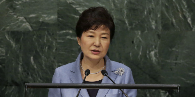South Korea's President Park Geun-hye addresses the 70th session of the United Nations General Assembly, Monday, Sept. 28, 2015. (AP Photo/Richard Drew)