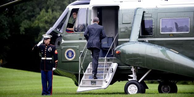 Barack Obama vor dem Weißen Haus am 4. Oktober 2015