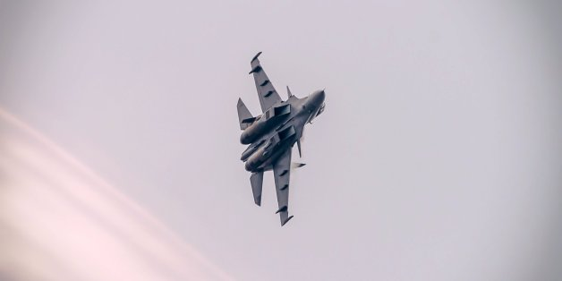 A Royal Malaysian Air Force Sukhoi Su-30MKM fighter during the 2015 Langkawi International Maritime and Aerospace Exhibition opening ceremony.