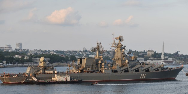 A picture taken on July 31, 2011 shows the Moskva guided missile cruiser participating in a Russian military Navy Day parade near an important navy base in the Ukrainian town of Sevastopol. Russia's defence ministry on September 24, 2015 said it will hold naval drills in the 'east Mediterranean' in September and October, as the West frets over a military buildup by Moscow in Syria. The exercises include three warships from Russia's Black Sea Fleet, including the Saratov landing ship, the Moskva guided missile cruiser and the Smetlivy destroyer, the ministry said in a statement. AFP PHOTO / VASILY MAXIMOV        (Photo credit should read VASILY MAXIMOV/AFP/Getty Images)
