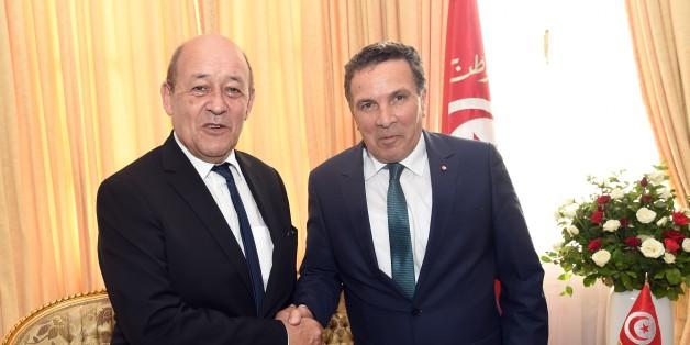 Jean-Yves Le Drian et Farhat Horchani