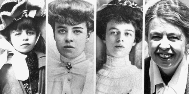 Mrs. Eleanor Roosevelt is shown at various stages of her life.  From left: as a child, date not known; in 1903 at the age of 19; at the time of her marriage in 1905; and at a White House fete in 1936 as First Lady. (AP Photo)