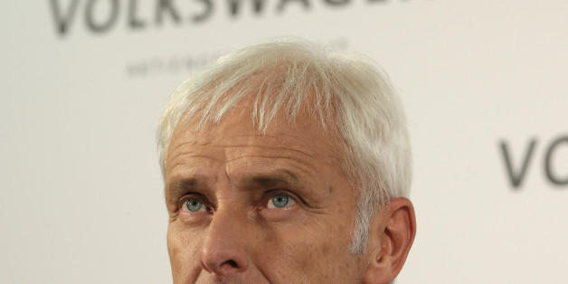 Newly appointed Volkswagen CEO Matthias Mueller looks on during a press statement after a meeting of Volkswagen's supervisory board in Wolfsburg, Germany, Friday, Sept. 25, 2015, after CEO Martin Winterkorn resigned on Wednesday amid an emissions scandal. (AP Photo/Michael Sohn)