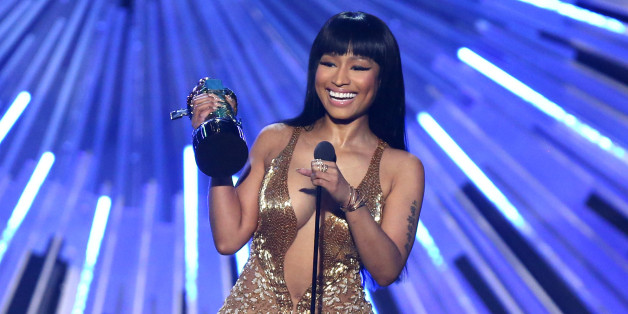 "Nicki Minaj accepts the award for hip-hop video of the year for ""Anaconda"" at the MTV Video Music Awards at the Microsoft Theater on Sunday, Aug. 30, 2015, in Los Angeles. (Photo by Matt Sayles/Invision/AP)"
