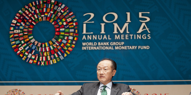 Jim Yong Kim, president of the World Bank Group, speaks at a panel discussion on climate change during the World Bank Group and International Monetary Fund (IMF) annual meetings in Lima, Peru, on Wednesday, Oct. 7, 2015. Aid for projects designed to help developing nations cut emissions and cope with global warming rose to $62 billion last year, suggesting richer nations are starting to make good on their promises to boost payments to $100 billion by 2020. Photographer: Guillermo Gutierrez/Bloomberg via Getty Images