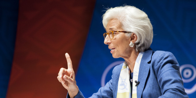 Christine Lagarde, managing director of the International Monetary Fund (IMF), speaks at a panel discussion on climate change during the World Bank Group and International Monetary Fund (IMF) annual meetings in Lima, Peru, on Wednesday, Oct. 7, 2015. Aid for projects designed to help developing nations cut emissions and cope with global warming rose to $62 billion last year, suggesting richer nations are starting to make good on their promises to boost payments to $100 billion by 2020. Photographer: Guillermo Gutierrez/Bloomberg via Getty Images