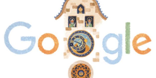 Das Google-Logo mit der Prager Rathausuhr