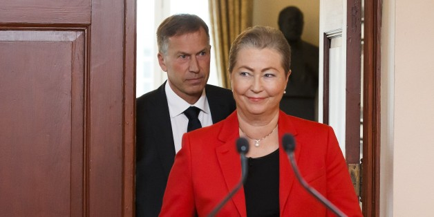 Kaci Kullmann Five, head of the Norwegian Nobel Committee, arrives to announce the winner of 2015 Nobel peace prize during a press conference in Oslo, Norway, October 9, 2015. The Norwegian Nobel Committee announced that the 2015 Nobel Peace Prize was awarded to the Tunisian National Dialogue Quartet. AFP PHOTO / NTB SCANPIX / HEIKO JUNGE +++ NORWAY OUT +++        (Photo credit should read HEIKO JUNGE/AFP/Getty Images)
