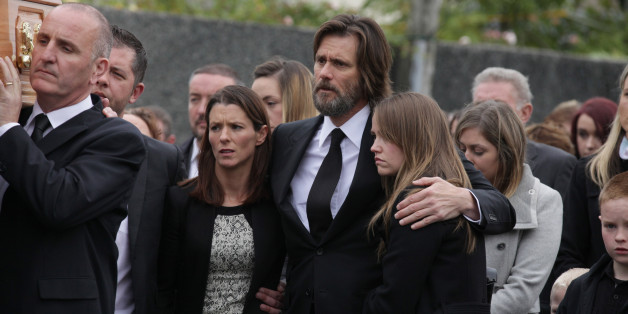 TIPPERARY, IRELAND - OCTOBER 10:  Jim Carrey attends The Funeral of Cathriona White on October 10, 2015 in Cappawhite, Tipperary, Ireland.  (Photo by Debbie Hickey/FilmMagic)